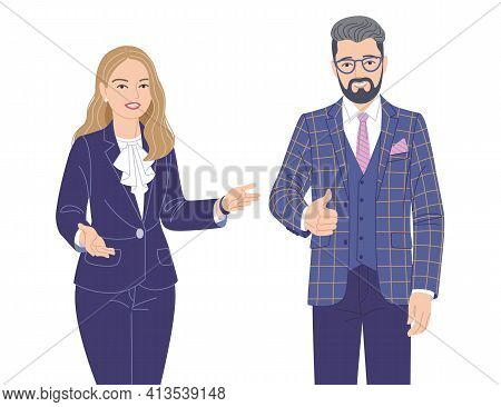 Friendly Woman And Man In Elegant Clothes Isolated On White. Office Worker, Spokesperson, Presentati