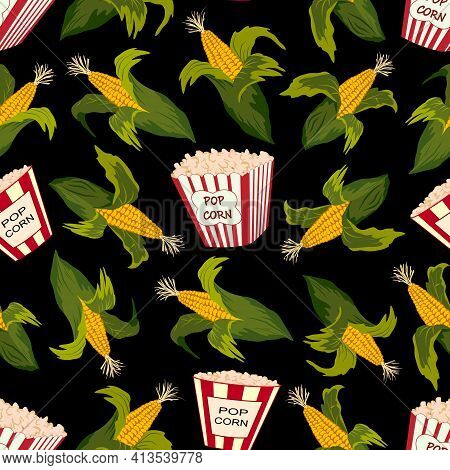 Pattern With Corn And Popcorn.corn And Popcorn On A Black Background In A Vector Pattern.