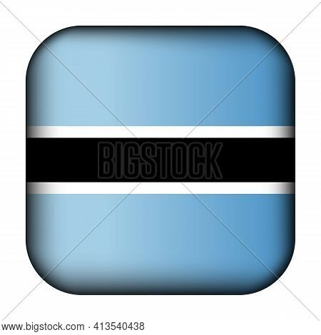 Glass Light Ball With Flag Of Botswana. Squared Template Icon. National Symbol. Glossy Realistic Cub