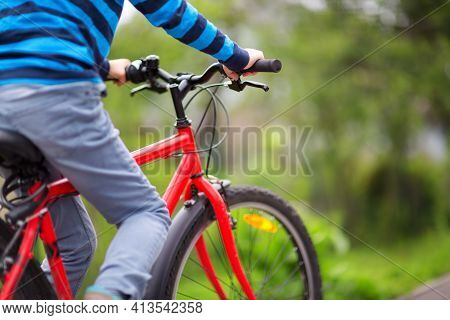 Child On A Bicycle In The Forest In Early Morning. Boy Cycling Outdoors In Nature