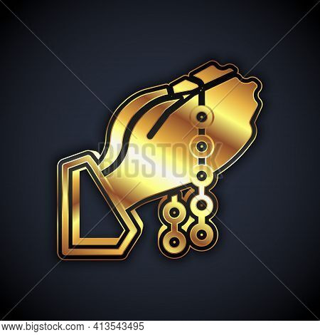 Gold Hands In Praying Position With Rosary Icon Isolated On Black Background. Praying Hand Islam Mus