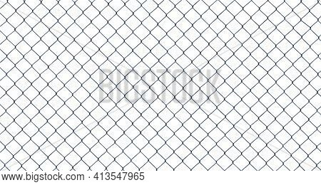 High Resolution Isolated Chain-link (or Wire Net Or Wire-mesh) Fence On A White Background