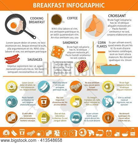 Continental And British Breakfast Components Coffee Eggs Croissant Flat Color Infographics Set Vecto
