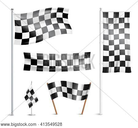 Typical Chequered Or Checkered Racing Winner Team  Prize Circuit Flags Indicating Finish Design Coll