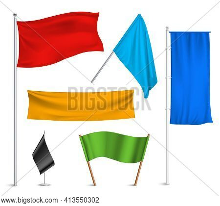 Various Colors Flags And Banners Pictograms Collection With Black Racing And Blue Half-staff Hoisted