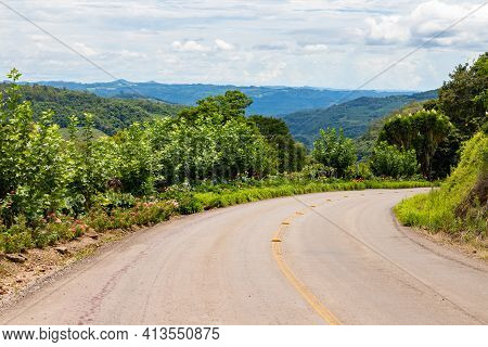 Road With Flowers And Valley, Bento Goncalves, Rio Grande Do Sul, Brazil