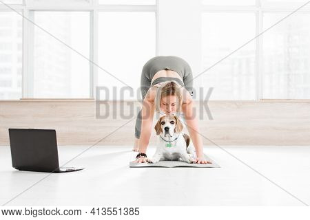 Sports At Home. A Woman Is Engaged In Ashtanga Vinyasa Yoga On The Background Of A Window, Next To H