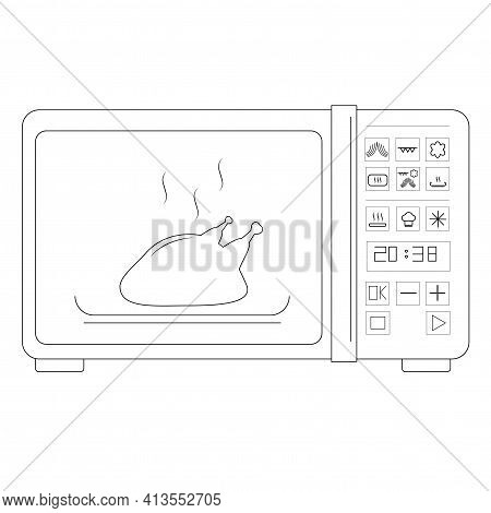 Home Microwave Oven Outline Vector Icon For Web Design Isolated On White Background. Home Icon Of A