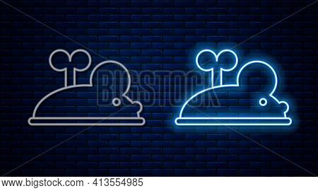 Glowing Neon Line Clockwork Mouse Icon Isolated On Brick Wall Background. Wind Up Mouse Toy. Vector