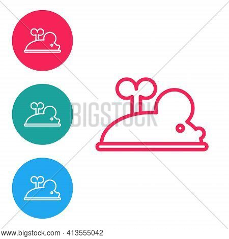 Red Line Clockwork Mouse Icon Isolated On White Background. Wind Up Mouse Toy. Set Icons In Circle B