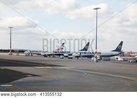 Prague, Czech Republic - March 14, 2020: Passenger Planes Of Low-cost Airlines Ryanair And Smartwing
