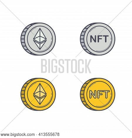 Set Of Abstract Silver And Golden Nft Coins Isolated On White Background