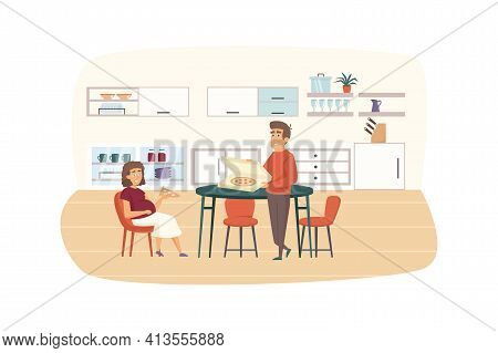 Young Family Eating At Kitchen Together Scene. Pregnant Woman Eat Pizza With Her Husband. Pregnancy,
