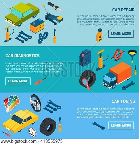 Car Diagnostics Repair And Tuning With Parts And Consumables Isometric Horizontal Banners Set Isolat
