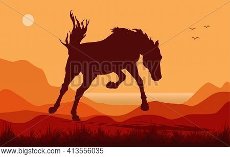 Black Isolated Realistic Silhouette Of A Galloping Kicking Horse On A White Background