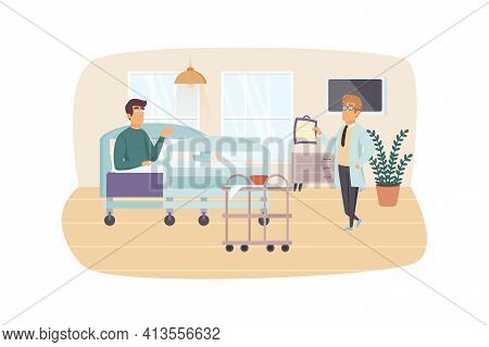 Doctor Visiting Patient In Hospital Ward Scene. Attending Physician Treats Hospitalized Man. Medical