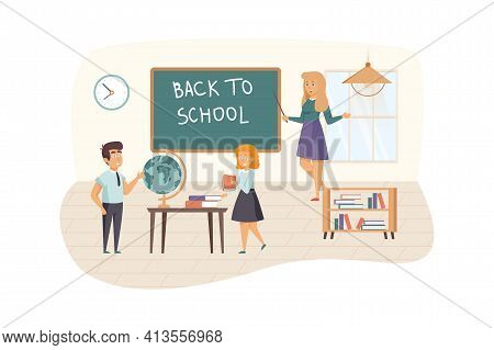 Teacher And Pupils In Classroom Scene. Schoolchildren Went Back To School, Studying At Lessons. Prim