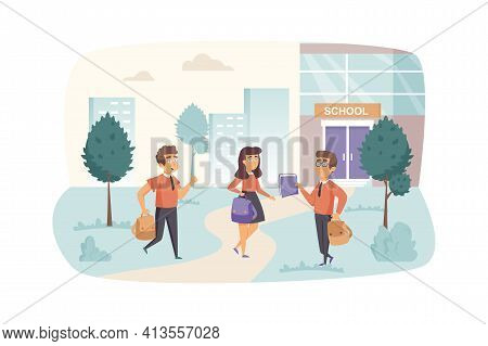 Pupils Go Back To School Scene. Schoolgirl And Schoolboys With Schoolbags Rush To Lessons. Primary E