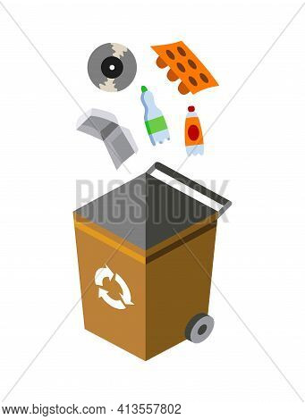 Garbage Can For Sorting. Recycling Elements. Colored Waste Bin With Plastic Trash. Separation Of Was