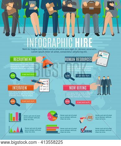 Human Resources Personnel Recruitment And Hiring Strategy Infographics Report With  Statistic Charts