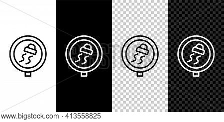 Set Line Slippery Road Traffic Warning Icon Isolated On Black And White, Transparent Background. Tra