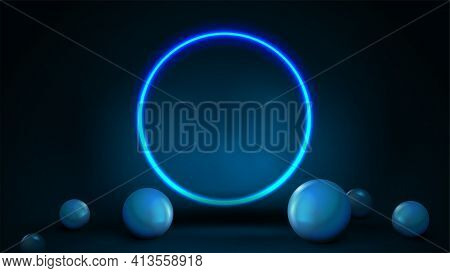 Empty Dark And Blue Abstract Scene With Spheres On Floor And Neon Blue Shiny Ring. 3D Render Illustr