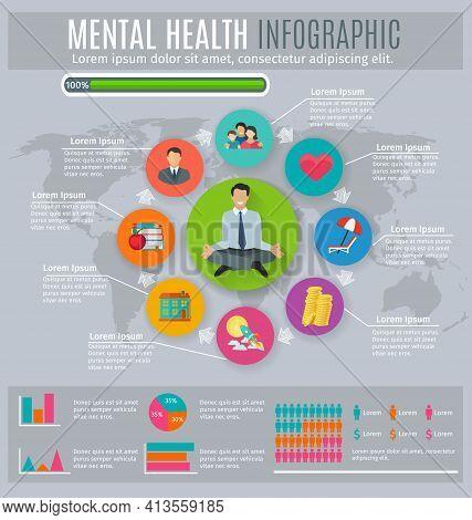 Mental Health Regaining And Maintaining Stress Level Main Principles Circle Diagram Infographic Pres