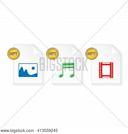 Set Of Three White Files Different Formats With Nft Toket Symbol. Art Files For Digital Sale. Image,