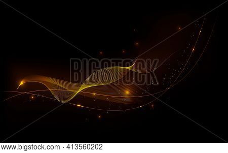 Golden Glowing Waves With Glitter On A Dark Background. Shiny Geometric Lines With Golden Sparkles A