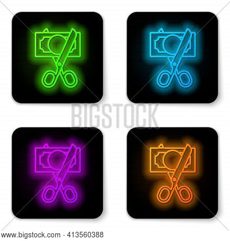 Glowing Neon Line Scissors Cutting Money Icon Isolated On White Background. Price, Cost Reduction Or