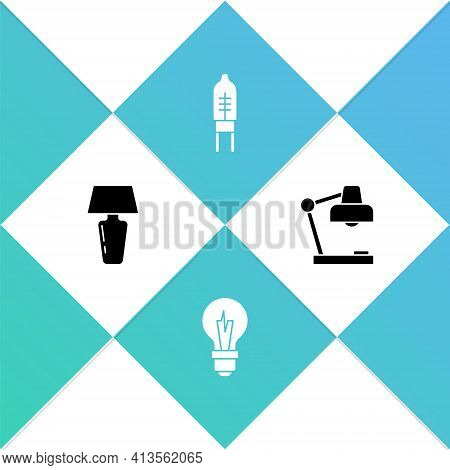 Set Table Lamp, Light Bulb, Emitting Diode And Icon. Vector