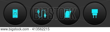 Set System Bug On Mobile, Usb Cable Cord, Glass Screen Protector And Charger Icon. Vector