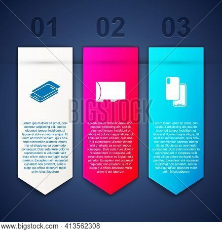 Set Glass Screen Protector, Micro Sd Memory Card And Smartphone. Business Infographic Template. Vect