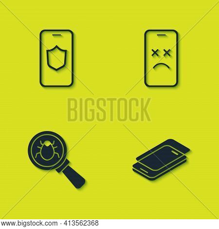 Set Mobile With Shield, Glass Screen Protector, System Bug And Dead Mobile Icon. Vector