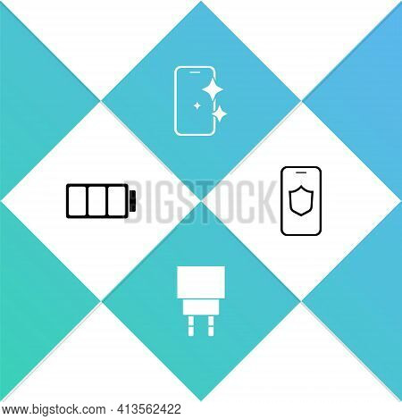 Set Battery, Charger, Glass Screen Protector And Mobile With Shield Icon. Vector