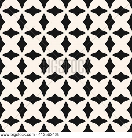 Black And White Geometric Seamless Pattern With Curved Shapes, Diamonds, Grid, Repeat Tiles. Elegant