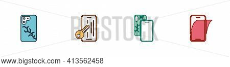 Set Mobile With Broken Screen, Glass Protector, And Icon. Vector
