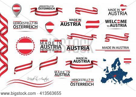 Big Vector Set Of Austrian Ribbons, Symbols, Icons And Flags Isolated On A White Background. Made In