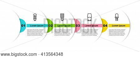 Set Line Light Bulb, Led Light, Table Lamp And Emitting Diode. Business Infographic Template. Vector