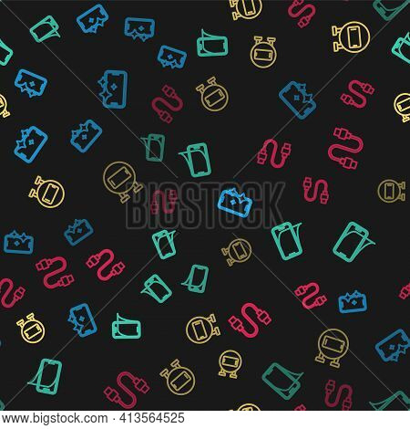 Set Line Glass Screen Protector, , Phone Repair Service And Usb Cable Cord On Seamless Pattern. Vect