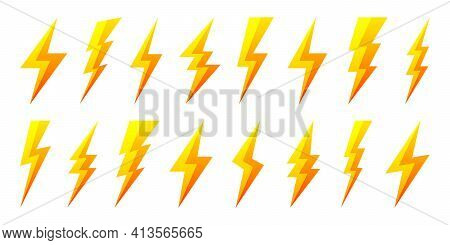 Yellow Lightning Bolt Icons Isolated On White Background. Flash Symbol, Thunderbolt. Simple Lightnin