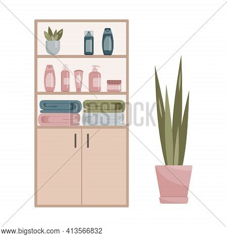 Bathroom Cabinet With Towels, Indoor Flower, Shampoos, Deodorants, Creams. Bathroom Cabinet With Tow