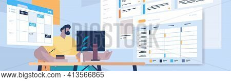 Businessman At Workplace Planning Day Scheduling Appointment In Online Calendar App Agenda Meeting P
