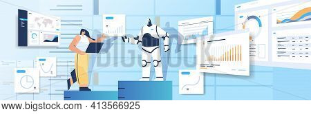 Robot With Businesswoman Analyzing Statistics Graphs Financial Data Analyzing Artificial Intelligenc