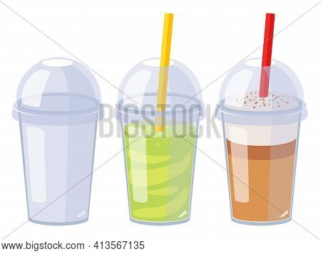 Cartoon Vector Set Of Plastic Cups. Empty Cup With Lid, Matcha Cocktail And Cappuccino. Flat Design.