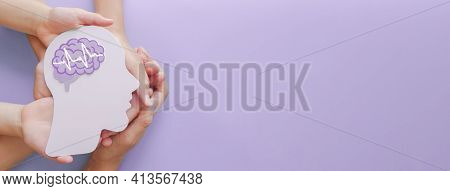 Adult And Child Hands Holding Encephalography Brain Paper Cutout,autism, Stroke, Epilepsy And Alzhei