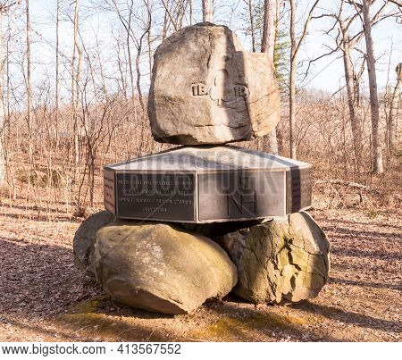 Gettysburg, Pennsylvania, Usa March 13, 2021 The Monument Dedicated To The 5th New Hampshire Volunte