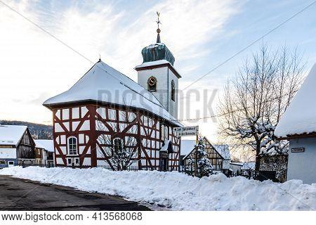 2021-01-11: Protestant Church In Schotten Breungeshain, Hesse, Germany