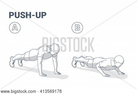 Push-ups Men Home Workout Exercise Silhouette Outline Guidance Illustration