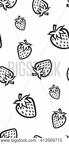 Strawberry Berry Monochrome Black And White Sketch Seamless Pattern Texture Background Vector